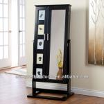 Photo Frames Mirrored Jewelry Cabinet Armoire Cheval Mirror - High Gloss Black