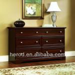 Cherry wooden dresser with six drawers