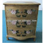 Durable flower pattern wood furniture cupboard with drawer