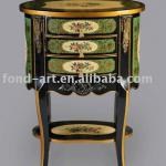 antique green and gold cabinet
