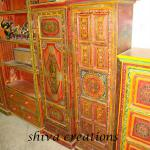 Hand painted wooden storage cabinet-WPF--037