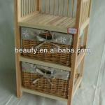 varnished pine wood cabinet with willow baskets