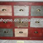 Vintage mini bar colorful wooden storage furniture cabinet with 9 drawers