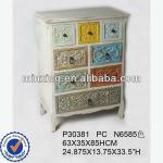 Distressed white cabinet wooden home furniture