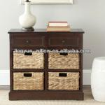 Living Room wooden cabinet+4pcs of rush basket
