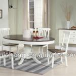 48 inch round wooden dining table with 18 inch leaf and 4 wooden dining chairs in two tone finishes