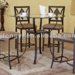 Glass top round pub table and barstool dining room furniture