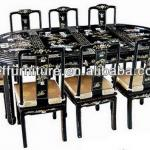 black antique dining room set dining table chair-107