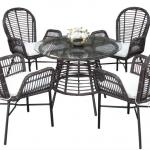2014 Garden PE Rattan Round Dining Furniture with 8mm Tempered glass Table top