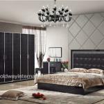 Modern latest design bed bedroom set 8002B black color bed