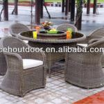 PE rattan restaurant furniture table and chair