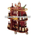 luxury Oval Solid Wood 3-tier Dull Red Mobile bar cabinet home bar furniture wine holder C-11