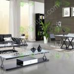 2013 elegant modern simple antique temper glass metal living room furniture set-ST-1107