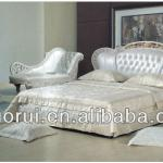Italian style romanticism design bedroom furniture set soft bed-A8808#