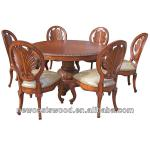 American Style Dining Room furniture Round Dining Wood Table and Chair Set-ZY009