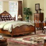 natural bedroom furniture genuine leather king bed JK04
