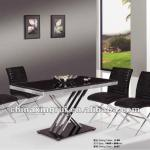 modern new design long tempered glass top and metal frame dining tables and chairs,dining room sets