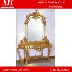 Antique gold foil design console table/beautiful design console table with mirror DR35