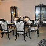 Antique Wooden Dinning Table/black color 1.8M dining table/solid wood dinning table