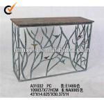 2013 Vintage metal living room console table with wooden top