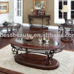 C008K-002 Glass antique coffee table wooden coffee table metal coffee table base
