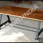 ANTIQUE SQUARE STYLE VINTAGE INDUSTRIAL METAL DINING TABLE,WOODEN TOP, FOLDING-MVIND_084
