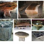 Petrified or fossil wood table-