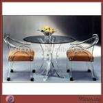 Unique Elegant European Style Acrylic Furniture Lucite Dining Room Table & Chairs