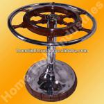 Decorative Nautical Ship Wheel Dinning Room Table with Glass Chrome Plated