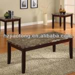 Marble Veneer Top And Solid Wood Legs Coffee Table