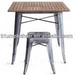 Wood Tolix Table set/Dining table set/Galvanized Table set