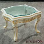 Luxury European Palace classic design furniture-solid wood frame handcarved furniture- small coffee table with glass top