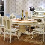 Antique french marble top round dining table with lazy Susan DF88-15B