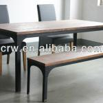 Recycle Pine With Metal Frame Dining Table-