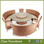 Modern rattan round cectional glass top dining table and chairs LS-170