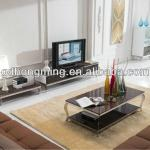 stainless steel and glass coffee table-CJ306+CC306-3