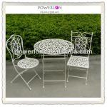 Hot Selling Stackable White Wrought Iron Dining Table Set
