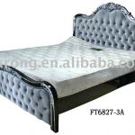 deluxe fabric double bed,size:220*200*155,wooden frame-FT-6827-3A