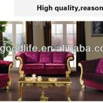 Rose color solid wood fabric modern sofa-GLSF8009