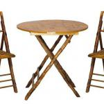 Rattan and Bamboo Folding Table and Chair Set-RBFTC