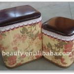 living room floral printing bamboo storage stool ottoman-beaufy12-006