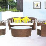 brown color poly rattan sofa set-RS-088