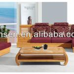 2013 AAA quality sofa set with cushion wooden bamboo furniture living room table and chair with coffee table + corner-QB-005