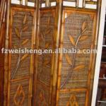 Antique Golden Bamboo Screen as Room Divider-3MJ11571