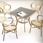 resturant dining table and chairs with hand paint bamboo finish-AS-6015set