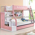 Children bedroom pink bunk bed with stairs|cabinet|wardrobe-B815