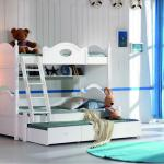 2013 new design white bunk bed 6201-6201 white bunk bed