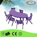 School furniture Kidney shape kids study plastic table and chair-KP304