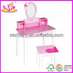 Popular MDF children makeup vanity with mirror, drawer and chair-W08H002