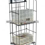 Newspaper Rack, Black Coated Steel Wire Literature Display Stand for Broad Issues - Floor Standing Periodical Holder-ERDA-MS20405